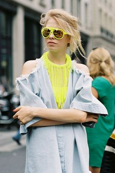 Vamp up summer chambray dress/jacket/shirts with pops of Neon and Leather pants for fall!