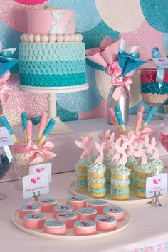 Mermaid in the Ocean themed birthday party with So Many CUTE IDEAS via Kara's Party Ideas Kara's Party Ideas | Cake, decor, cupcakes, games ...