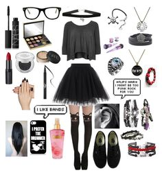 """Cute Emo"" by fallenangel182 on Polyvore featuring River Island, NARS Cosmetics, Urban Decay, Rimmel, Muse, Vans, Static Nails, Kat Von D and Victoria's Secret"