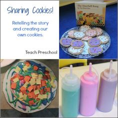 Retelling the Cookie Story and creating cardboard cookies with homemade puffy paint