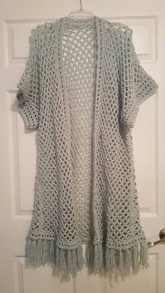 Aqua Crochet Kimono Sweater on Etsy