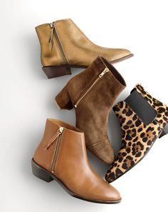 J.Crew women's Frankie boots in dark gold, suede side-zip boots, Frankie ankle boots and Collection calf hair Chelsea boots.