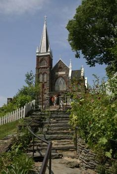 Harpers Ferry, West Virginia, St. Peter's Church originally built in 1833, and remodeled to its current appearance in 1896. It was the only church to escape destruction in Harpers Ferry during the Civil War.