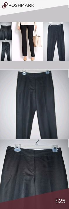 """Ann Taylor Kate Style Black Silk Dress Pants Size 4   Measurements: (unstretched)    INSEAM LENGTH: 30.5""""  WAIST: 14.5""""  RISE: 10.25""""    Condition: EUC   My items come from a smoke-free household, we do have a kitty, so an occasional hair may occur!  Washed in cold and hung dry if applies Ann Taylor Pants Straight Leg"""