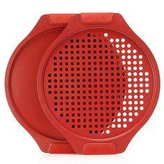 "460-744 - Cook's Companion® Color Ceramic Nonstick Two-Piece 12"" Round Bake & Crisp Set"