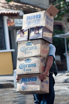 Hey that looks like Danno behind all those boxes LOL :)    Discount time, ching*ching exchanging the empty ones for full ones - you gotta love Mexico :)  Puerto Vallarta, Mexico