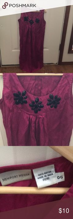 Newport News purple dress Spring inspired purple dress with black plastic flowers. Newport News Dresses Midi