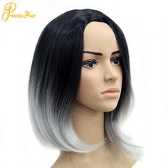 synthetic ladies short ombre gray wigs Two Tone bob black light grey wig yaki silky fiber straight silver grey cosplay wig-in Synthetic Wigs from Health & Beauty on Aliexpress.com | Alibaba Group