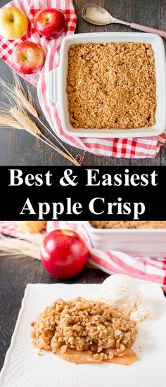 The BEST and EASIEST Apple Crisp - Little Sweet Baker This quick and easy apple crisp is filled with tender baked apple slices and topped with a crunchy brown sugar oat streusel. Easy Apple Crumble, Apple Crisp Topping, Best Apple Crisp Recipe, Best Apple Recipes, Caramel Apple Crisp, Gluten Free Apple Crisp, Apple Crisp Easy, Apple Crisp Recipes, Fall Recipes