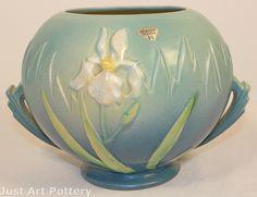 Roseville Pottery Iris Blue Vase 358-6 from Just Art Pottery