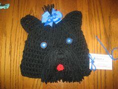 black terrier crochet hat for cancer patient