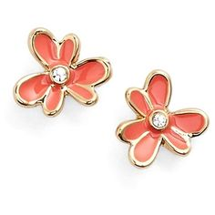 kate spade new york 'pansy' blossom stud earrings ($32) ❤ liked on Polyvore featuring jewelry, earrings, bright papaya, kate spade, post earrings, stud earrings, flower jewellery and 14k jewelry