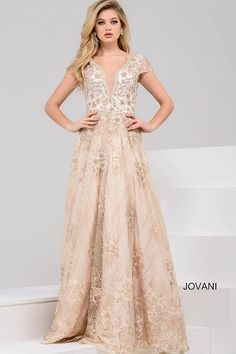 Gorgeous floor length A-line gold embroidered evening gown features cap sleeve bodice with plunging v neckline and closed back.