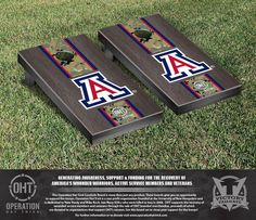 Cornhole Set - Operation Hat Trick University of Arizona Wildcats Onyx Stained Stripe Version