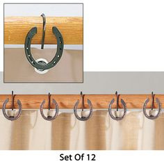 Rustic Horseshoe Shower Curtain Hooks - For the barn apartment :)