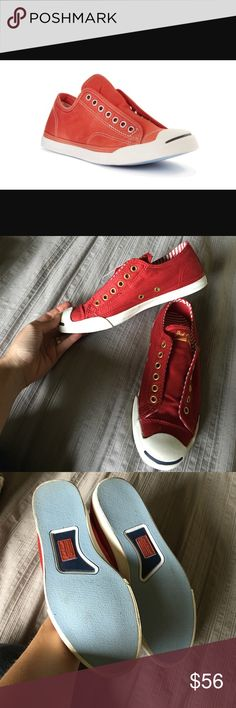 1434117233fa Converse Jack Purcell red lace less tennis shoes Excellent preworn  condition. Grab them in time for the Fourth of July!