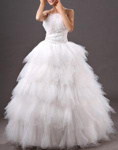Beige ball gown strapless tiered floor-length crystal yarn wedding dress US$95.50