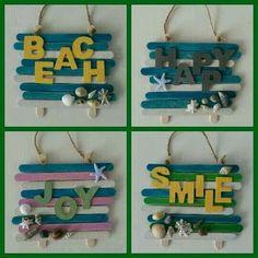 más y más manualidades: Manualidades fáciles con palitos de madera Seashell Crafts, Beach Crafts, Diy Home Crafts, Summer Crafts, Wood Crafts, Crafts For Kids, Paper Crafts, Diy Wood, Lolly Stick Craft
