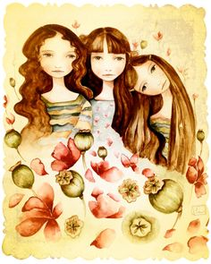 The 3 sisters vintage art print brown hair by Claudia Tremblay Art Vintage, Vintage Art Prints, Sisters Art, Three Sisters, Claudia Tremblay, Sister Gifts, Illustrations, Fine Art Paper, Large Prints