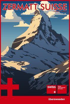 Zermatt  Switzerland the Matterhorn travel poster