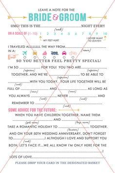 Wedding Mad Libs Advice Card Printable Design Instant by Jeneze