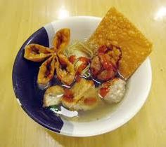 BAKWAN MALANG  Malang, East JavaNoodle dishAlso known as Bakso Malang, meatball noodle soup with fried wontons from city of Malang.