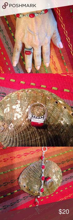 Eye popping Sterling Silver ring and bracelet. Exquisite oval linked bracelet with red accents.  Ring size 6. Jewelry Bracelets