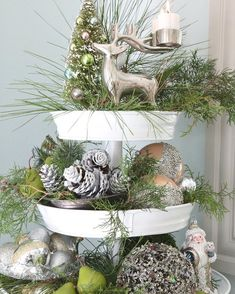 Snowy Tree Winter & Christmas DIY Table Decoration {in 20 Minutes!} Enchanting 10 Minute snowy tree winter & Christmas DIY table decoration for almost free, beautiful as gifts, farmhouse decor & winter wedding centerpieces! - A Piece of Rainbow Old Christmas, Rustic Christmas, All Things Christmas, Christmas Holidays, Christmas Crafts, Cheap Christmas, Christmas 2019, How To Decorate For Christmas, Traditional Christmas Decor