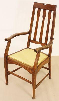 Charles Rennie Mackintosh Oak Armchair c.1900 - | LoveAntiques.com