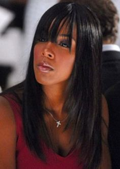 straight hair with side swept bangs Trendy Look of Long Straight Hairstyles  for Black Women in 898c457d3