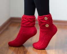 Knitted Socks Knitted Red Socks Crocheted Socks by YarnyKnitty
