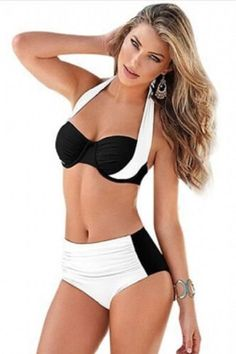 b1b0d0aa3a272 White Black Stylish Bicolor High Waist Swimsuit XL In stock US  Unbranded  Bikini  Sexy