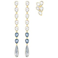Contrasting Gold Plated metalwork and cool-colored crystals unite to create this gorgeous pierced earring set. Guaranteed to add a bohemian twist, full of fluidity and sophistication, to your summer look. Go for an on-trend asymmetrical look by wearing the shorter style in one ear and the longer-length earring in the other.