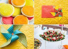 Vibrant Whimsical Beach Wedding Photo by So Life Studios @solifestudios -- Cookies by @anitapta, Invitation (@hnkoval, hope you don't get too much fan mail now), Pinwheel, Skewers