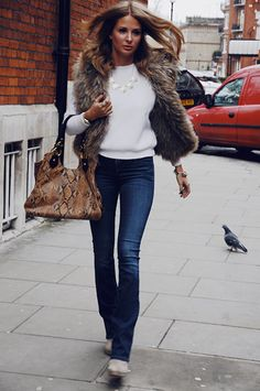 Jumper by The Kooples, Gilet by Prodiga, Bag by Sarah Forsyth Fashion Days, I Love Fashion, Fashion Outfits, Millie Mackintosh Made In Chelsea, Fall Winter Outfits, Autumn Winter Fashion, Chelsea Girls, Fur Gilet, Looks Style