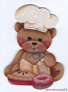 HP TEDDY BEAR Chef FRIDGE MAGNET #Handpainted