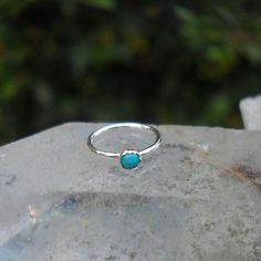 Nose Ring Hoop/ Tragus Earring/ Cartilage Earring Sterling Silver 2mm Turquoise Handcrafted 7mm inner diameter hoop