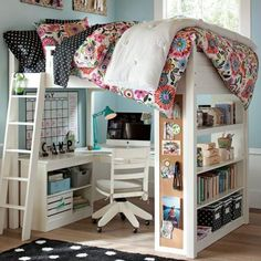 I want this for the spare bedroom! Lovely kid office under a bunk bed with stairs. and, oh my, the book shelves... and the long cork pin board. Lovely! #children #child #room #bed #desk #white #wood