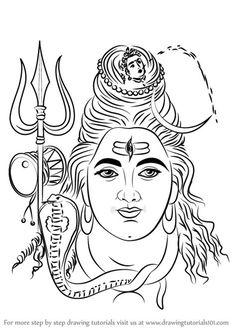 Learn How to Draw Lord Shiva Face (Hinduism) Step by Step : Drawing Tutorials Shiva Art, Krishna Art, Hindu Art, Mahakal Shiva, Ink Pen Drawings, Outline Drawings, Art Drawings Sketches, Lord Shiva Painting, Krishna Painting