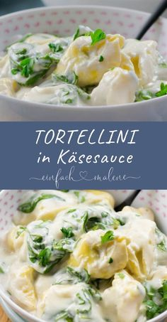 15 Minuten Spinat Tortellini in Käse Sauce. So lecker und so fix auf dem minutes spinach tortellini in cheese sauce. So delicious and so fix on the plate! These spinach tortellini are served with the parmesan cheese sauce and are a real Healthy Pasta Recipes, Healthy Pastas, Meat Recipes, Gourmet Recipes, Healthy Snacks, Cheese Sauce, Cashew Cheese, Smoothie Recipes, Easy Meals