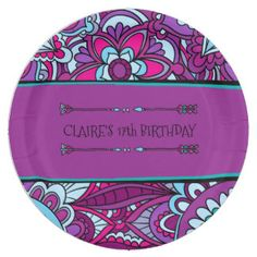 Boho, 70's Party Paper Plate