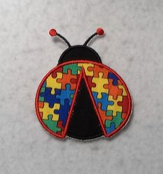 Ladybug Autism Awareness Puzzle Piece - MADE to ORDER - Choose SIZE and Color - Tutu & Shirt Supplies - fabric Iron on Applique Patch 7014 by TheFabricScene on Etsy