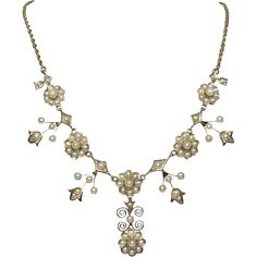 BCS SALE! Antique 14k Gold Hallmarked Seed Pearl Daisy Necklace. Reduced by $700 for our BELOW COST SALE to only $998. Sale ends Sunday, Sept. 11th
