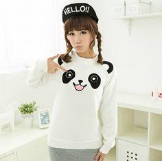 White Panda sweatshirt for women long-sleeved
