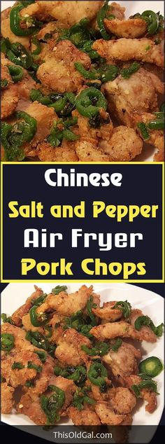 Can we make this w/out an air fryer? Looks so good! Air Fryer Chinese Salt and Pepper Pork Chops are an authentic restaurant quality dish, but at a fraction of calories from deep fried. Air Fryer Recipes Pork, Air Frier Recipes, Pork Recipes, Grill Recipes, Healthy Chinese Recipes, Healthy Recipes, Healthy Food, Yummy Food, Chinese Salt