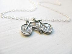 Bicycle necklace, sterling silver necklace, delicate, simple necklace, everyday necklace, adventure, Bike Necklace, Sports Jewelry. $25.00, via Etsy.