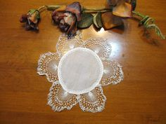 Vintage Doily, Knitted Doily, Knitted Lace. White, Cottage Chic,  French Decor by NormasTreasures on Etsy