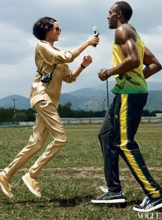 Usain Bolt and Joan Smalls:   Cut to the Chase. Vogue. June 2012.