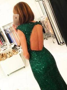Dark Green Open Back Long Prom Dresses,Cap Sleeves Split-Front Prom Gown with Sequins,M61