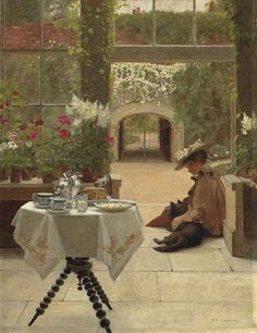 Five O'clock Tea 1895 - Edith Hayllar - (British: 1860-1948)